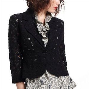 Anthropologie Tabitha Delphinium Lace Blazer Blue
